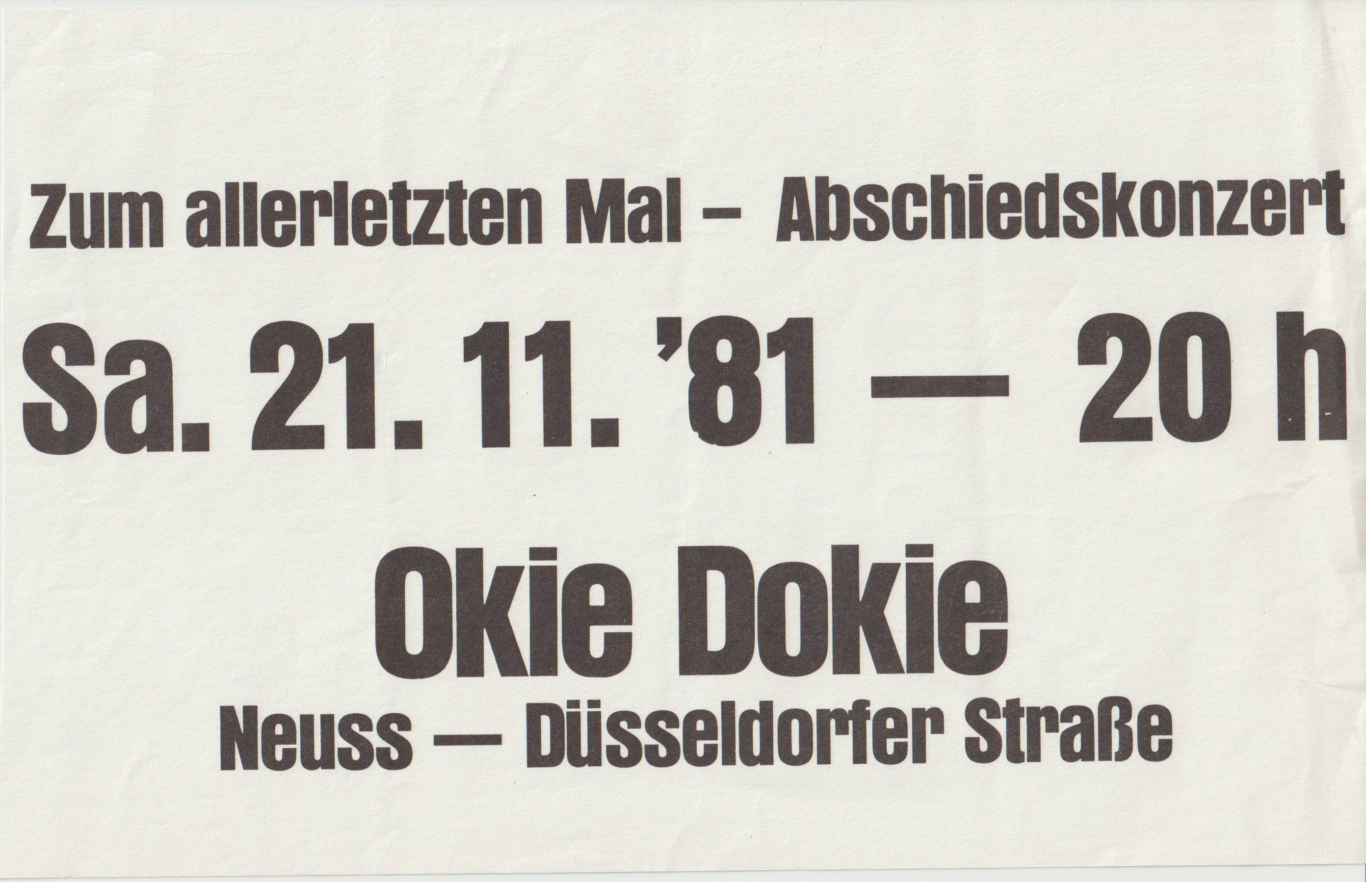 Zk Live In Neuss Okie Dokie Am 21 11 1981